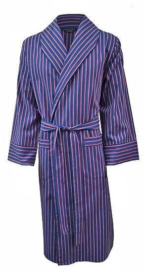 Men s Lightweight Cotton Flannel Dressing Gown - Navy ca1a4af6c996