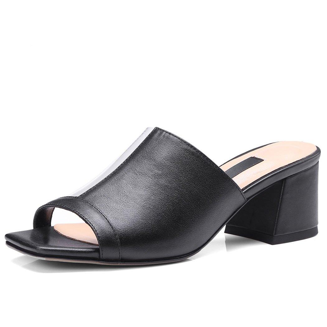 Noir  GAOLIXIA Femmes Les Les dames Sandales En Cuir Esvoiturepins été Transparent PVC Splice Sandales pantoufles Open Toe Talons hauts Mules Chaussures Décontracté Chaussures