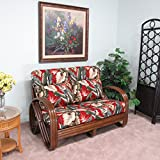 Kailua Rattan Loveseat (Walnut finish) Cushions Made in USA