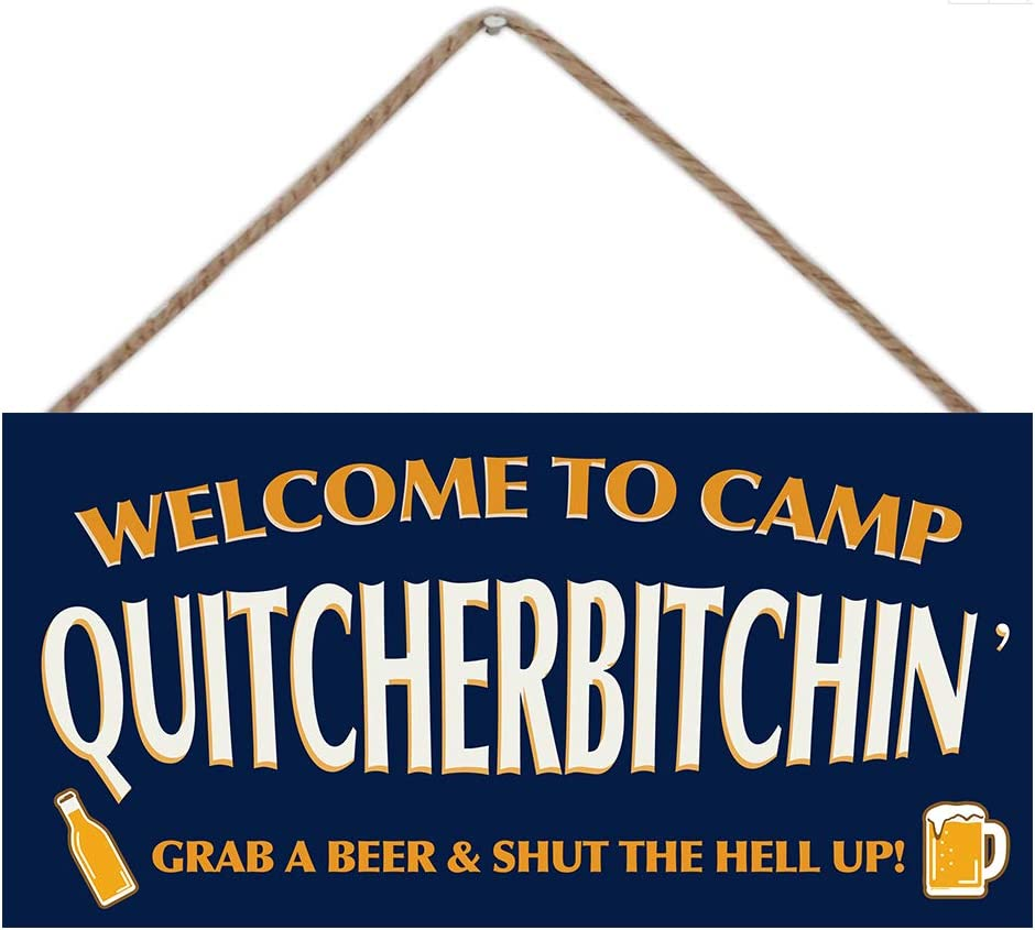 Calien Welcome to Camp Quitcherbitchin Hanging Wooden Camping Decor Campers Gifts 6 x 12 Inch