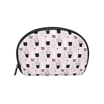 c9ba55fc4e45 Amazon.com : Pink Background White Cactus Small Fashion Compartment ...