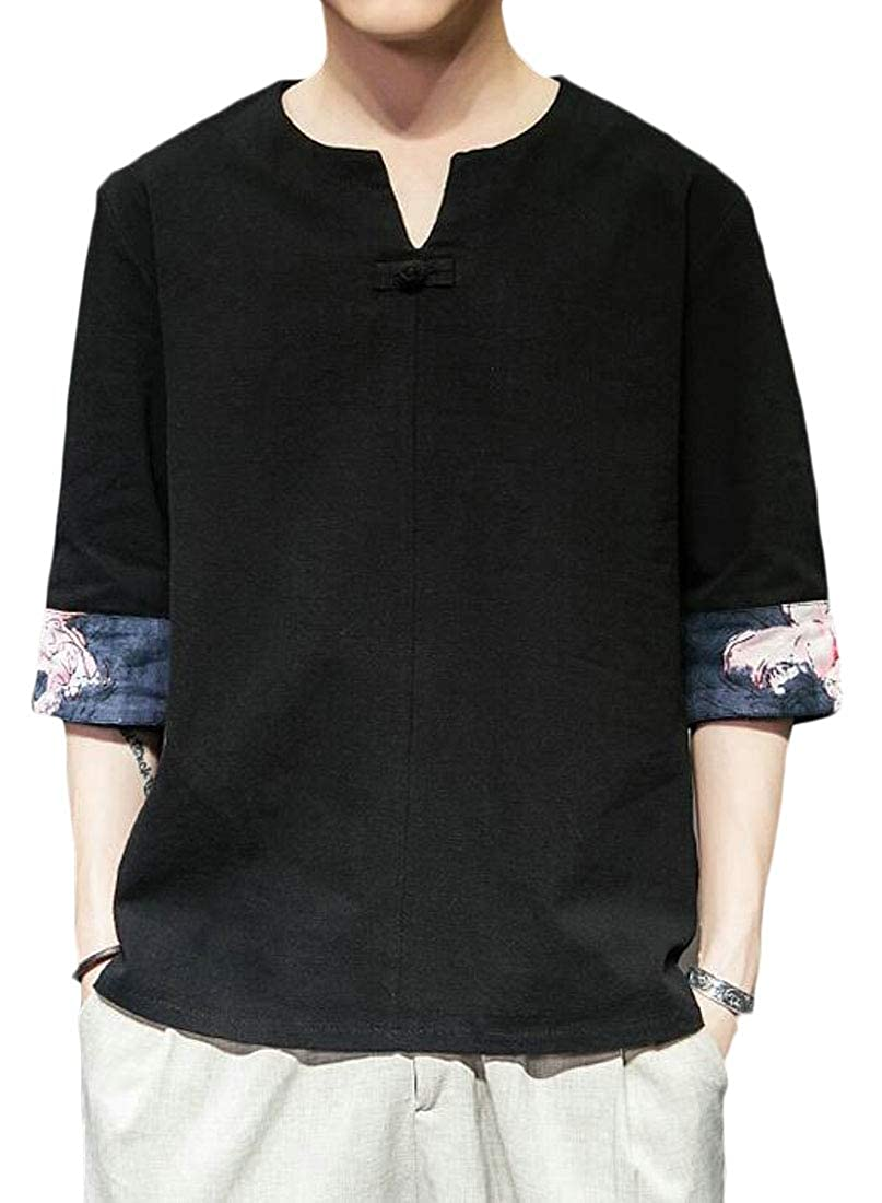 ARTFFEL Mens Loose Fit V-Neck Chinese Style Solid 3//4 Sleeve T-Shirt Tee Top