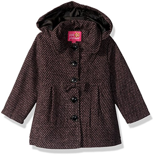 Pink Platinum Baby Girls Hooded Textured Wool Coat, Pink, 24M