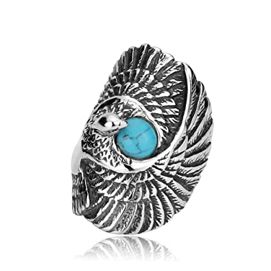 de494e0528111f USUASI Hot Stainless Steel Ring Band Accessories Native American Style  Titanium Steel Rings Men Big Eagle