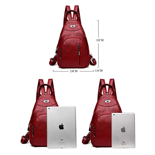 Haoyushangmao Girls Multi-Purpose Backpack for Daily Travel//Travel//School//Work//Fashion//Leisure Color : Blue, Size : 24cm32cm11cm Black//Blue//Red PU Leather Simple Fashion