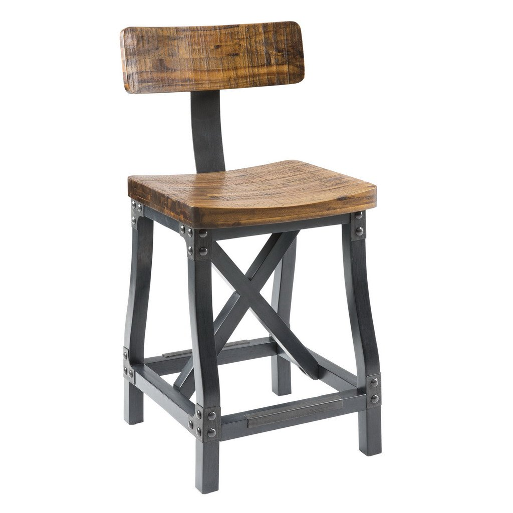 Ink+Ivy Lancaster Counter Stools - Solid Wood, Metal Kitchen Stool - Amber Wood, Industrial Style Counter Height Stools - 1 Piece Iron Frame Wooden Seat Counter Furniture For Home