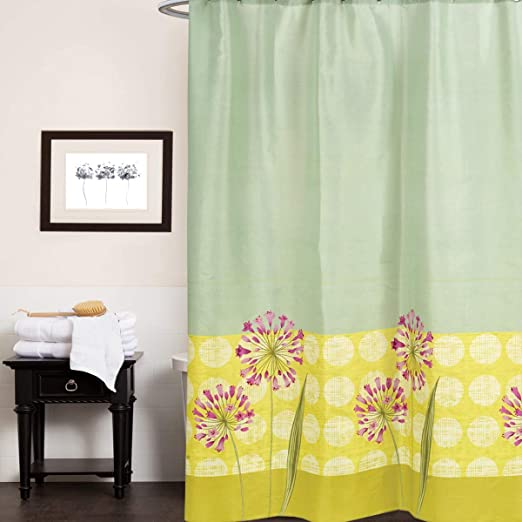 Water Resistant Anti-Mildew Material Sweet Home Collection Curtain Machine Washable Fabric Fun Designs for Shower Stalls /& Bathtubs Standard Multi Easy Hang 72 x 70