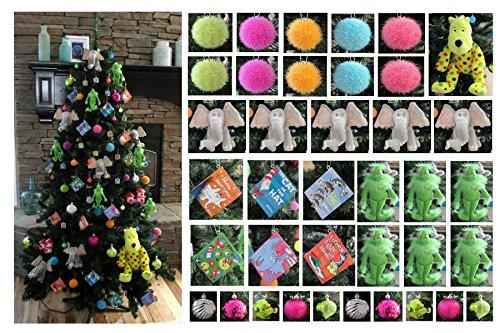 Dr. Seuss Themed Deluxe Mega Christmas Tree Ornament Set - Unique Shatterproof Plastic Design
