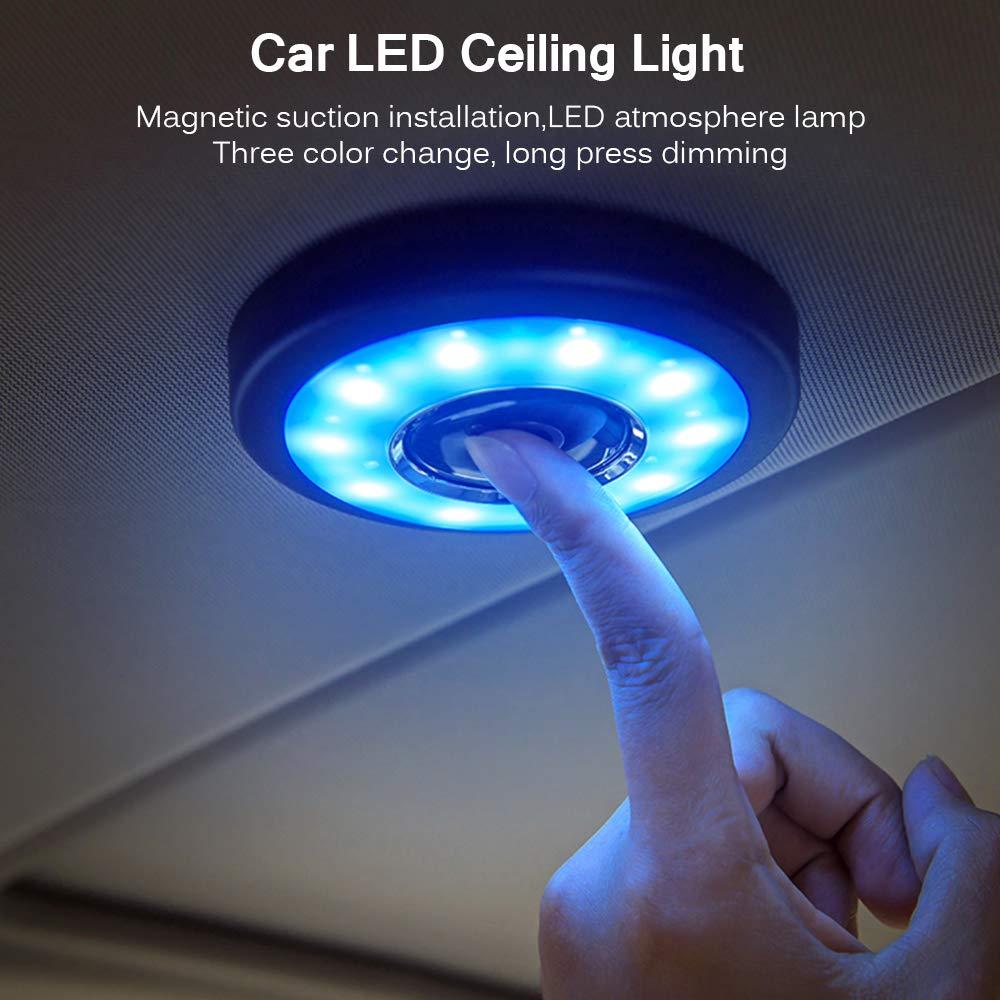 Luz de Lectura LED para Habitaci/ón de Beb/é L/ámpara de Techo Interior para Interior del Veh/ículo con Maletero Autom/ático HaavPoois 1 Pieza de Luz de Techo Recargable USB para Coche Negro