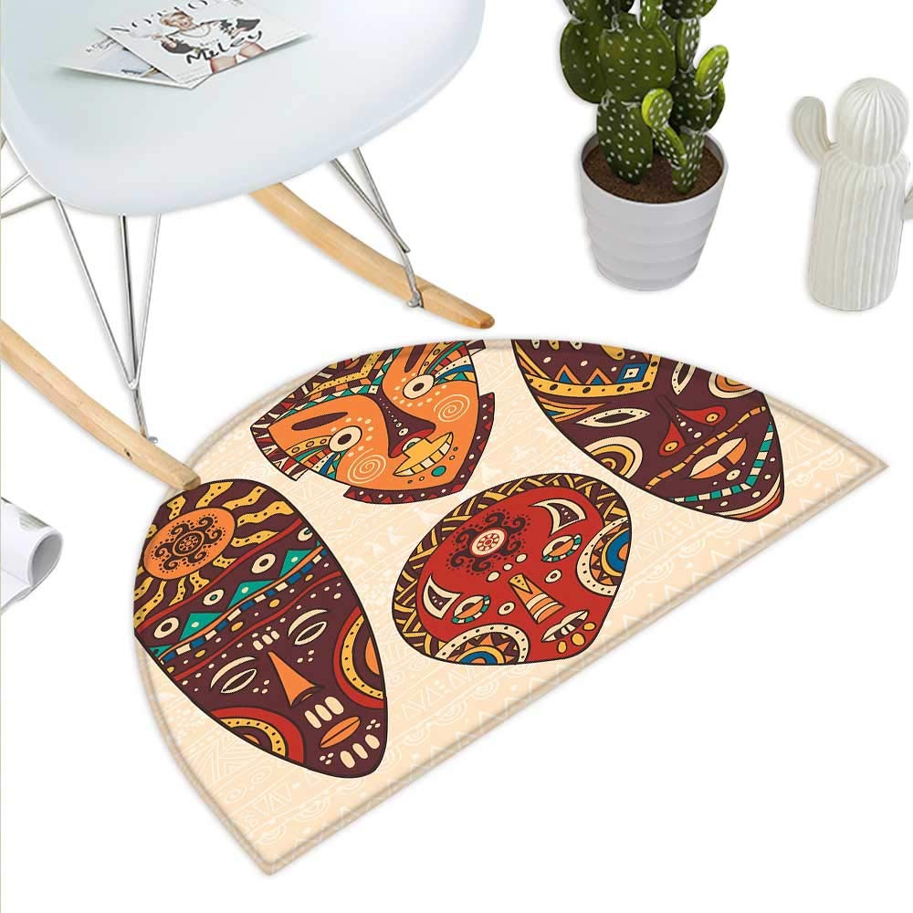color12 H 15.7  xD 23.6  Red and Brown Semicircle Doormat Classical Knitting Pattern Image Autumnal colors Herringbone Zigzag Stripes Halfmoon doormats H 27.5  xD 41.3  Multicolor
