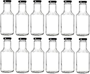 Nakpunar 14.5 oz Wide Mouth Empty Glass Bottles with Lids for Oil, BBQ Sauces, Milk, Water, Beverages (12, Black)