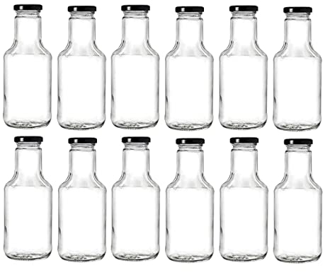e56756f733c6 Nakpunar 14.5 oz Wide Mouth Empty Glass Bottles with Lids for Oil, BBQ  Sauces, Milk, Water, Beverages (12, Black)