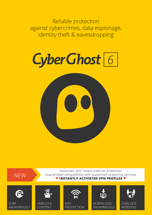 CyberGhost VPN Premium Plus - 5 PCs - 1 Year [Download]
