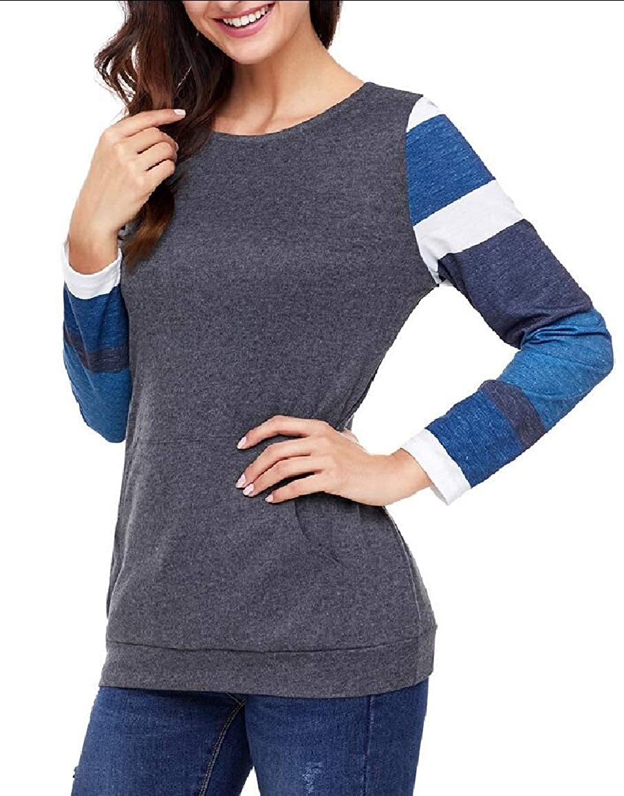 omniscient Womens Tunics Shirts Tops Lightweight Color Block Long Sleeve Loose Fit Pullover
