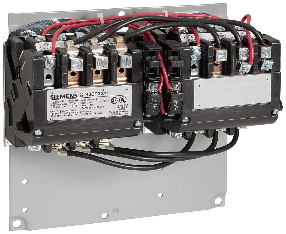 [SCHEMATICS_48IU]  Siemens 43EP32AD Heavy Duty NEMA Magnetic Contactor, Reversing, 208V AC  Coil Voltage, 40 Full Load Amps, NEMA Size 1-3/4, 3 Phase, 3 Pole, 2NO+2NC  Contacts, Open Type: Amazon.com: Industrial & Scientific | 208v Contactor Wiring |  | Amazon.com