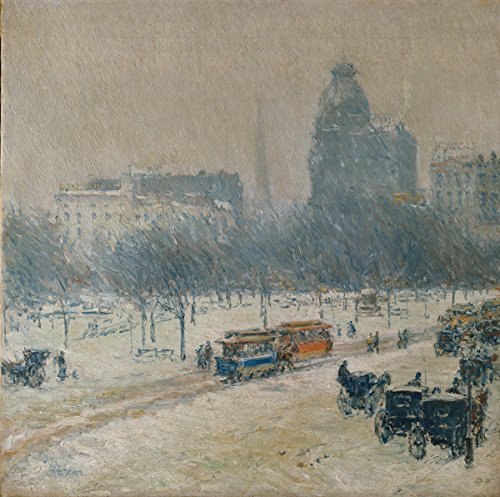 Berkin Arts Childe Hassam Giclee Canvas Print Paintings Poster Reproduction(Winter in Union Square)