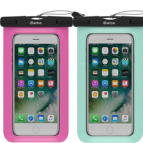 2 Pack Waterproof Case,iBarbe Universal Cell Phone Plasic TPU Dry Bag for iPhone 7 7 plus 6S 6/6S Plus 5/S/SE 5C samsung galaxy Note 5 s8 s8 plus S 8 S7 S6 Edge s5 etc.to 5.7 inch,Tear+Rose