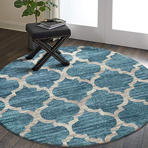 Lahome Moroccan Area Rug - 3' Diameter Faux Wool Non-Slip Area Rug Small Accent Distressed Throw Rugs Floor Carpet for Door Mat Entryway Bedrooms Laundry Room Decor (Round - 3' Diameter, Blue) (Rugs Round 3)