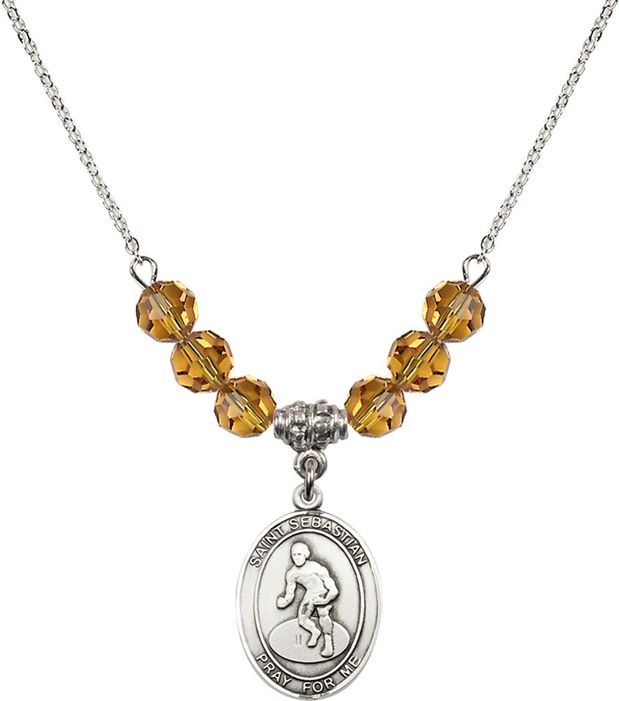 Rhodium Plated Necklace with 6mm Topaz Birthstone Beads & Saint Sebastian/Wrestling Charm. by F A Dumont