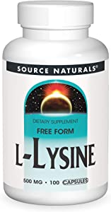 Source Naturals L-Lysine Free Form -Amino Acid Supplement Supports Energy Formation & Collagen - 100 Capsules