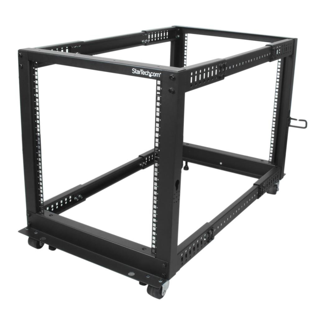 StarTech.com 12U Adjustable Depth Open Frame 4 Post Server Rack with Casters/Levelers and Cable Management Hooks 4POSTRACK12U Black