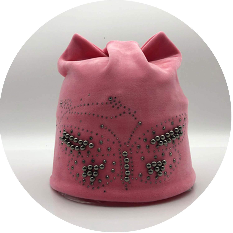 Warm Flannel Velvet Double-Deck Winter Warm hat Skullies Diamond Butterfly Cap Hats cat Ears Beanie