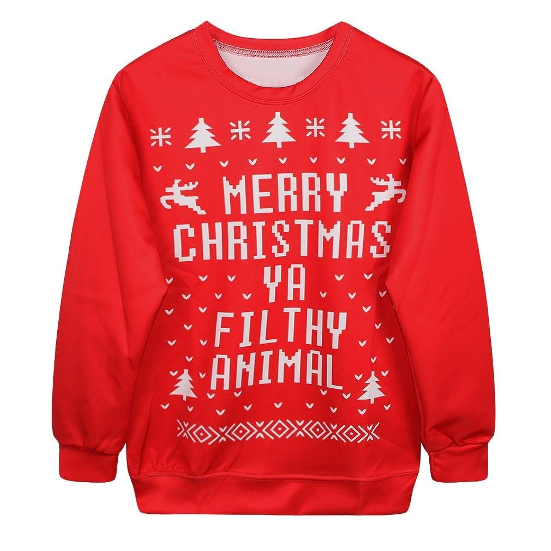 SAYM Christmas Santa Claus Cute Print Pullover Sweater Jumper ...