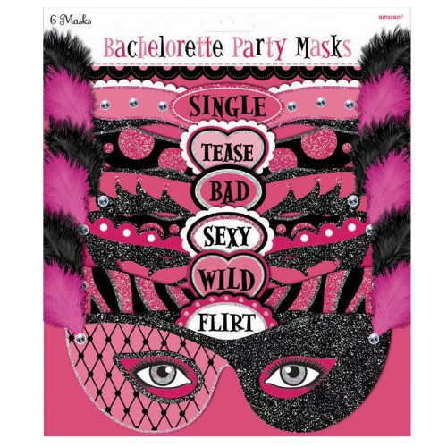 Amscan Bachelorette Party Masks - Official Party Supplies, Black -