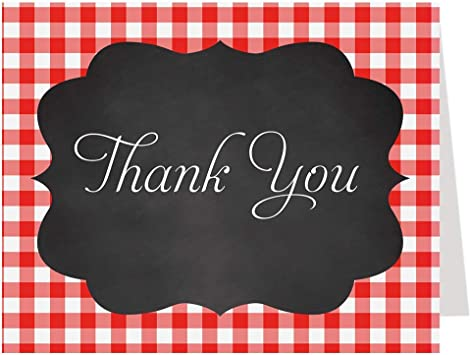 Red and Black Photo Thank You Card