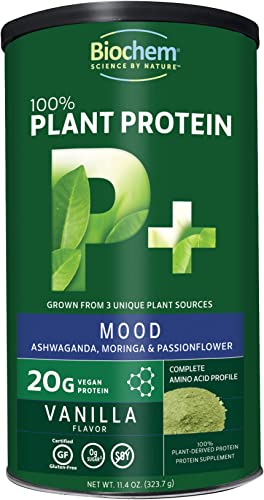 Biochem 100 Plant Protein - Mood - Vanilla - 11.4 oz - 20g Vegan Protein - Amino Acid - Keto-Friendly - Ashwaganda, Moringa Passionflower - Supports Healthy Mood Mental Focus