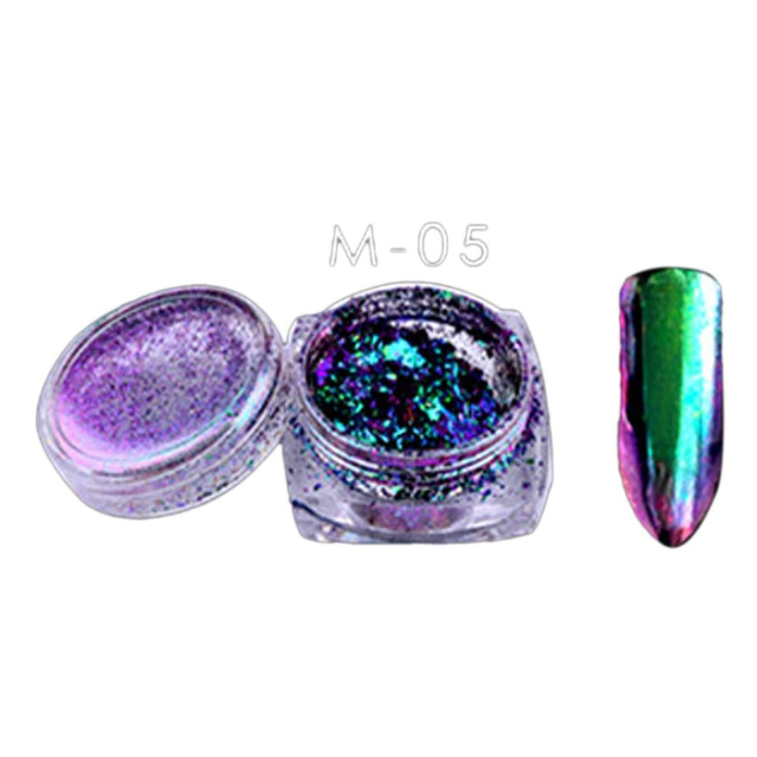 AMA(TM) Holographic Unicorn Mirror Powder Rainbow Chrome Nail Powder Manicure Pigment Nail Art (Multicolor 2)