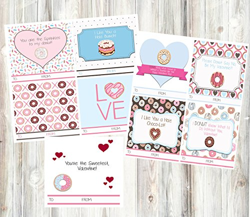 Silly Goose Gifts Donut Themed Valentine's Day Cards (24 Included) for Classroom Sharing