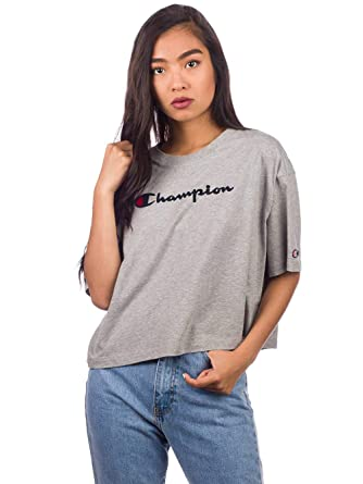 Image Unavailable. Image not available for. Color  Champion Women s Crew  Neck Cropped Tshirt 14 Grey 51c1821b6