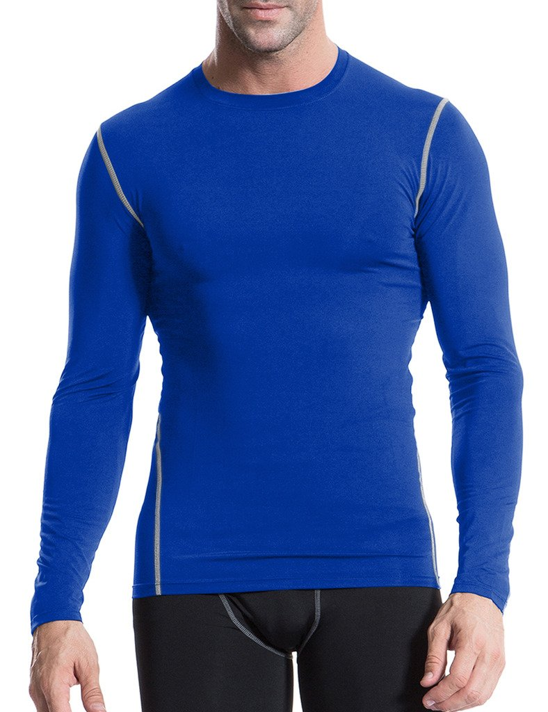 JIMMY DESIGN Herren Long Sleeve Top Compression - Blau - 2XL