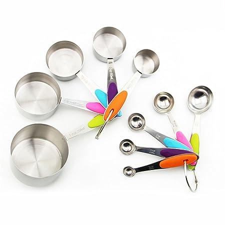 10Pcs Acero inoxidable medición tazas y cucharas para hornear Cocina Herramientas De Cocina De Café