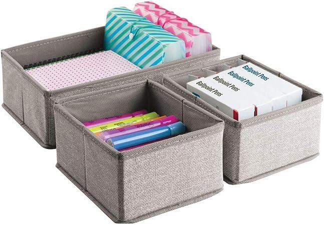 Colore: grigio quaderni matite blocco note Per penne Set da 6 scatole per ufficio Scatola scrivania in materiale di qualit/à accessori e altro mDesign Organizer cassetto
