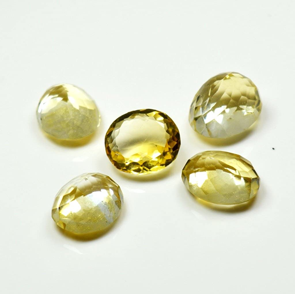 Jewelryonclick V/'ritable Citrine Loose Gemstone Lot Total 5 Carat 5 Pcs Pierre Ovale Astrologique Whoelsale
