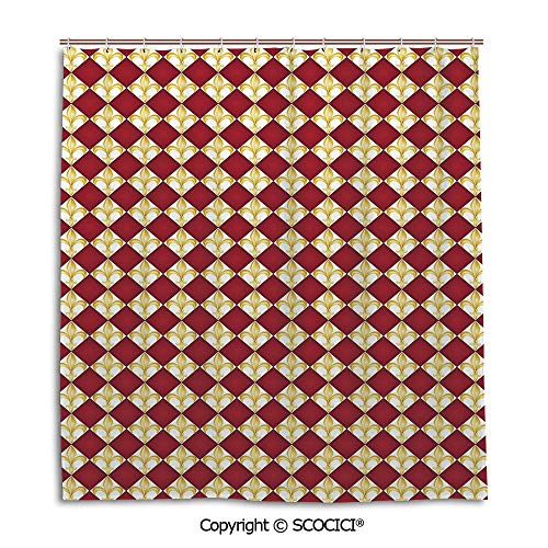 SCOCICI Creative Bath Curtain Personality Suit Shade Curtain,66X72in,Fleur De Lis,Geometrical Rhombus Arrangement Western Culture Royal Lily Pattern,Ruby Yellow White,Used for Bathing Privacy ()