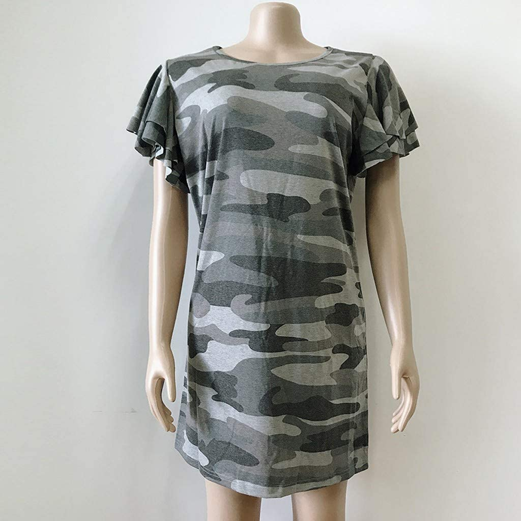 Leaf2you Womens Camouflage Print Mini Dress Casual T-Shirt Dress Round Neck Ruffled Short Sleeve Loose Fit Straight Dress