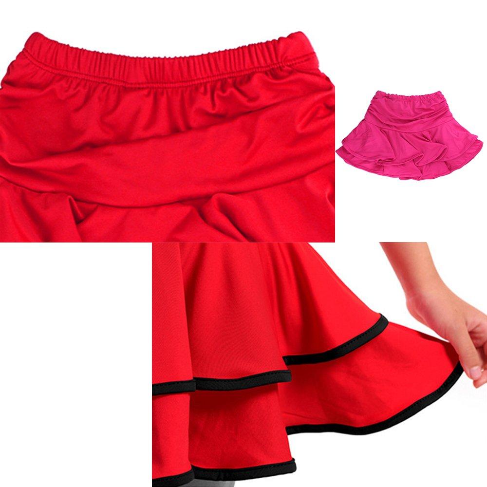 Pantaloni Costume KINDOYO Vestito da Ballo Bambini Ragazze Latino Abbigliamento Abito Danza Bowknot Maniche Lunghe//Manica Corta Top Nero//Rosso