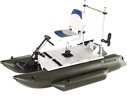 Heavy-Duty Small Inflatable Pontoon Boat with Grab Bar and FoldingSeat for One Person Fishing [Aquos] detail review
