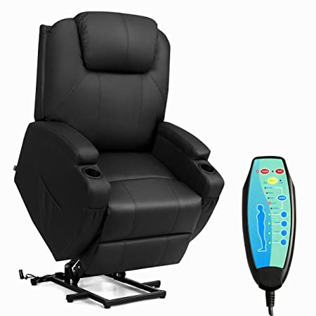 TANGKULA Massage Recliner with Electric Lift Power, Ergonomic Design Heated Vibrating with 2 Cup Holders, Side Pouch, Remote Control, for Living Room Home Theater, Sofa for The Elderly Recliner Chair