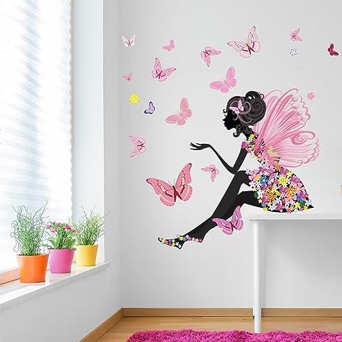 Mädchenzimmer  Blumenfee Wandaufkleber Szene Schmetterling Wandtattoo ...