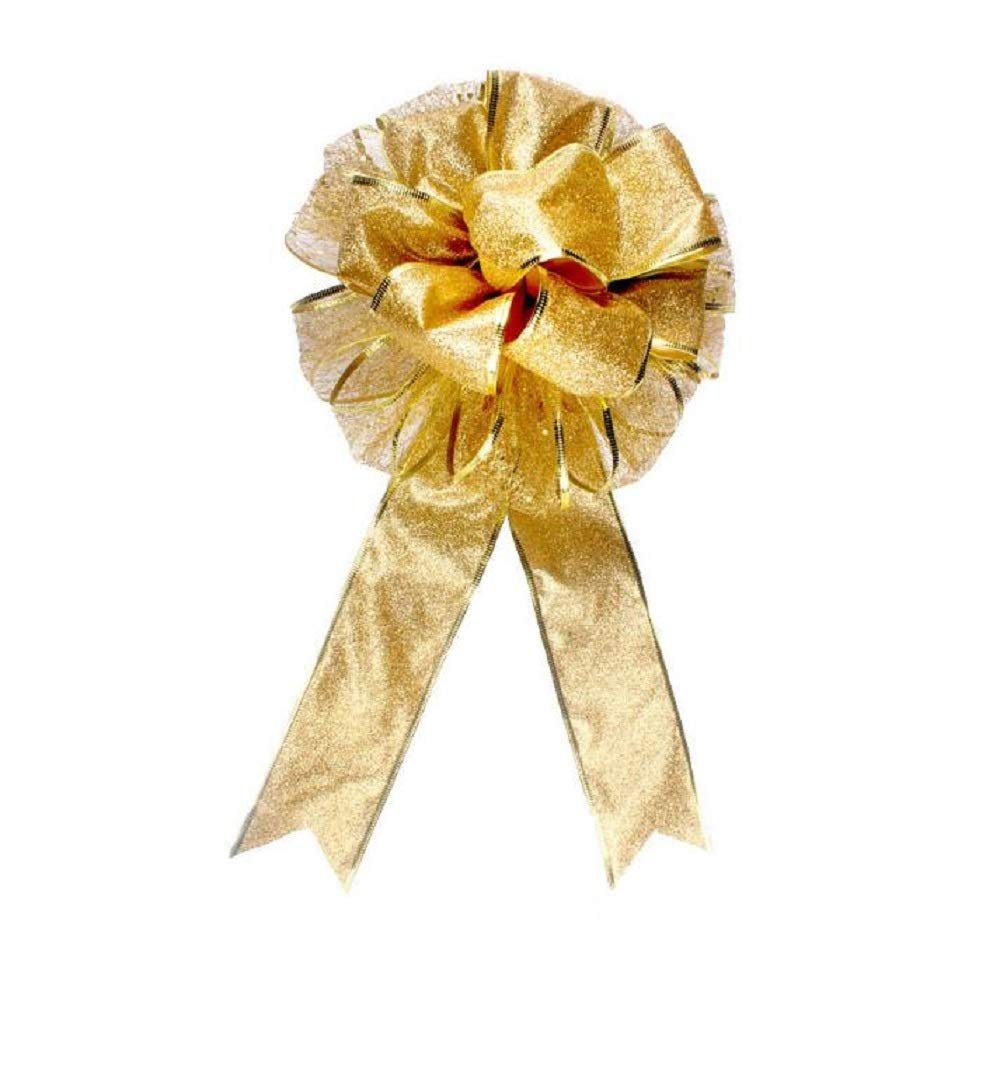 EBTOYS Christmas Tree Bow Topper Gift Bow Tree Topper Bow Indoor Outdoor Handmade Decoration for Wreaths Tree Toppers - (Gold)