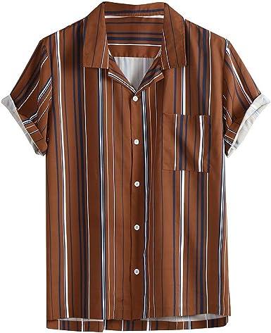 Amasells Camisas a Rayas para Hombre, Blusa Casual con Botones Hawaianos, Playera de Manga Corta, M ~ 3XL Marrón marrón XXL: Amazon.es: Ropa y accesorios