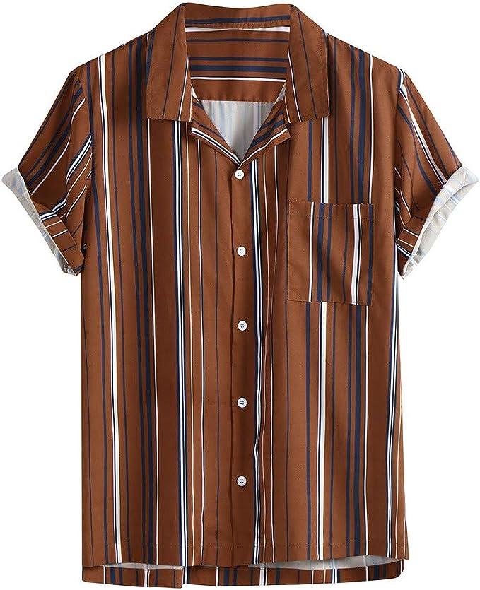 Amasells Camisas a Rayas para Hombre, Blusa Casual con Botones ...