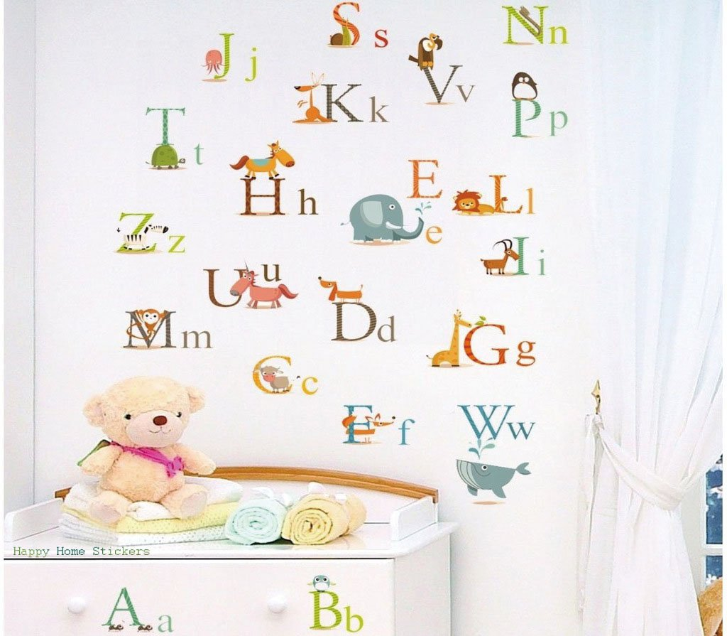Alphabet letters wall stickers a to z animals decor decal large alphabet letters wall stickers a to z animals decor decal large for baby boys girls bedroom or childrens playroom kids stickarounds transparent removable amipublicfo Images