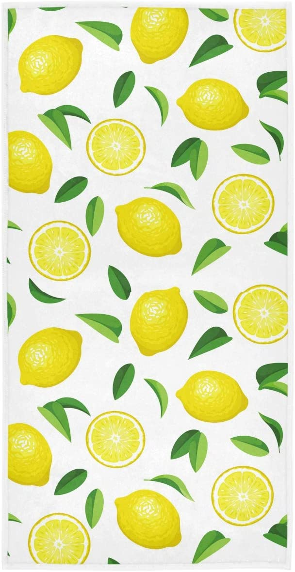 Wamika Fresh Lemon Leaves Hand Towels 16x30 in Yellow Lime Orange Slices Fruit Bathroom Towel Soft Absorbent Small Bath Towel Kitchen Dish Guest Towel Home Bathroom Decorations