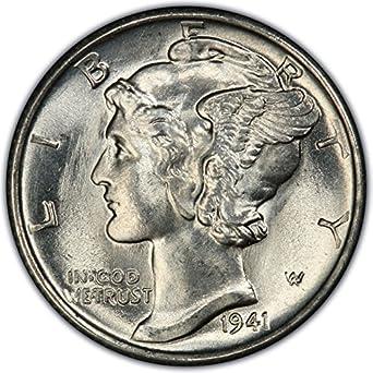 1941 Gem Brilliant Uncirculated Silver Mercury Dime Dime Choice Brilliant Uncirculated At Amazons Collectible Coins Store