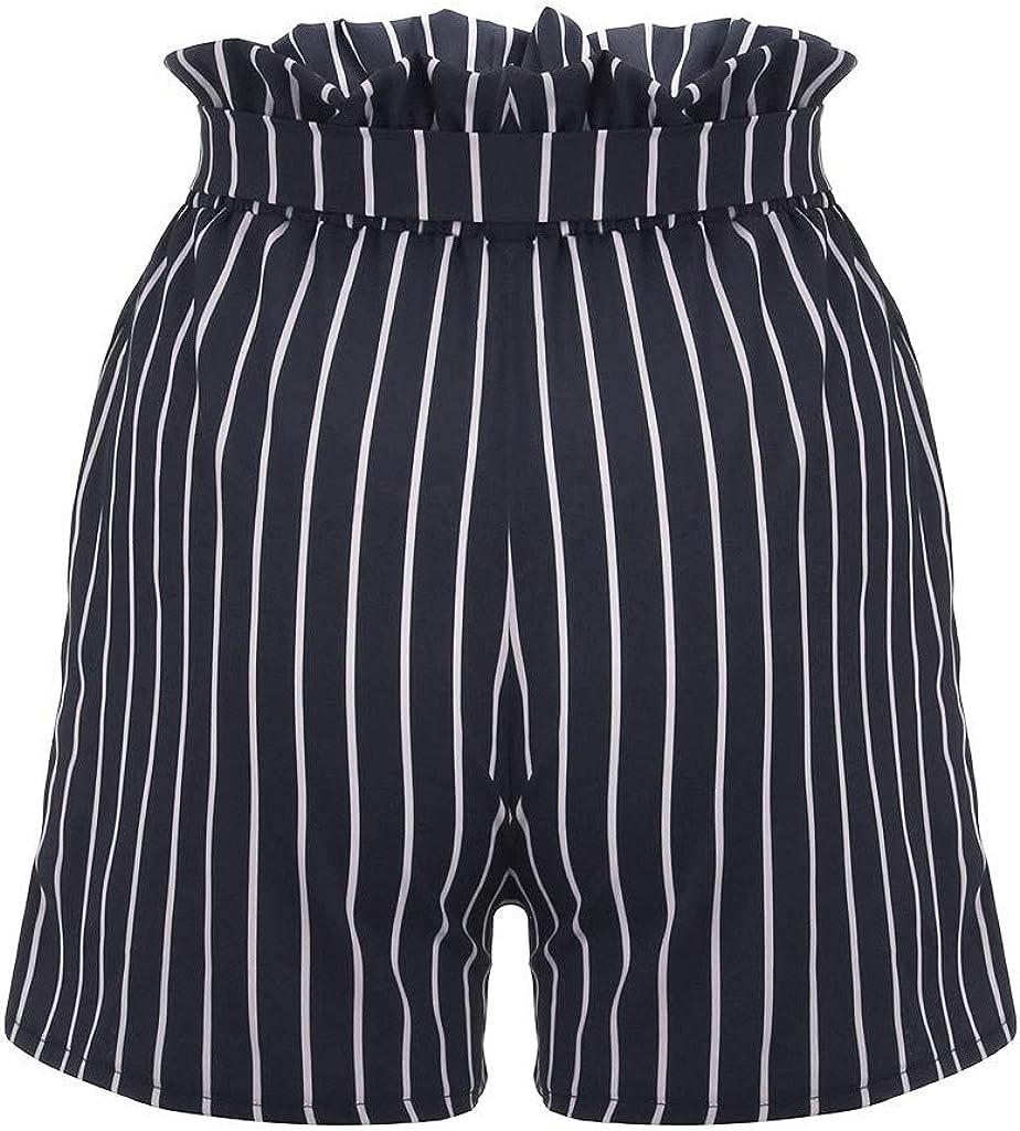HAALIFE◕‿Womens Casual Elastic Waist Striped Summer Beach Shorts with Pockets